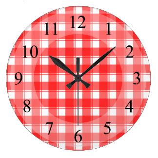 Red White Plaid Retro Kitchen Clock