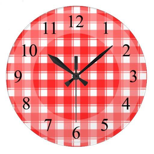 Red White Plaid Retro Kitchen Clock Zazzle
