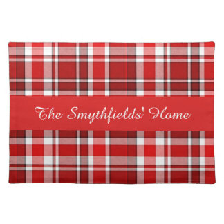 Red White Plaid Tartan | Add Your Name Placemat