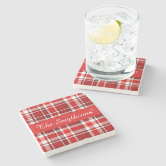 Red White Plaid Tartan | Add Your Name Stone Coaster