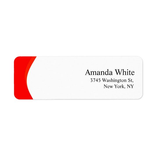 Red & White Plain Elegant Minimalist Modern Return Address Label