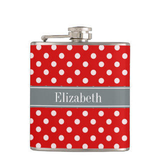 Red White Polka Dots Charcoal Ribbon Monogram Hip Flask