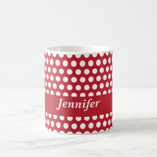 Red & white polka dots custom girls name mug
