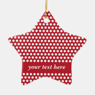 Red & white polka dots custom hanging ornament