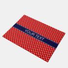 Red White Polka Dots Navy Blue Ribbon Monogram Doormat