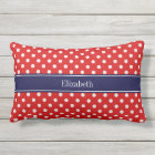Red White Polka Dots Navy Blue Ribbon Monogram Lumbar Cushion