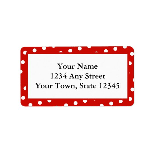 Red & White Polka Dots Printed Address Labels