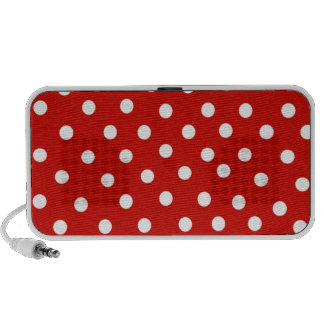 red white polkadot travelling speaker