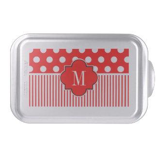 Red white polkadots stripe cake pan
