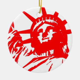 Red White Pop Art Lady Liberty Ornament