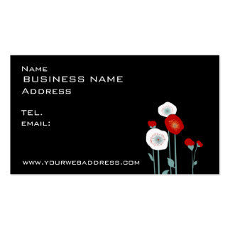 red white poppies business card