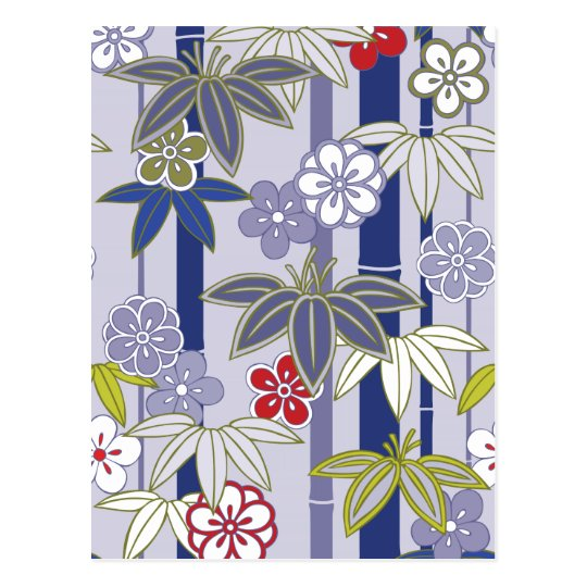 Red White Purple Floral Japanese Kimono Pattern Postcard