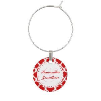 Red & White Quatrefoil Pattern Custom Wedding Wine Charm
