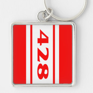 Red White Racing Stripes 428 Motor Size Keychain Keychains