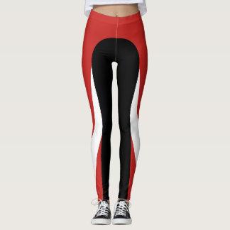 Red/White/Red/Black Pattern Leggings