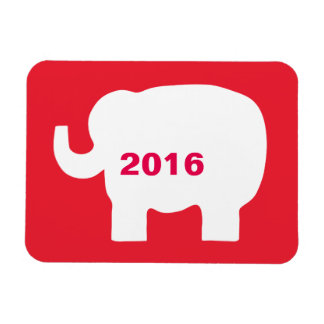 Red White Republican Elephant 2016 Election Rectangular Photo Magnet