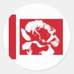 Red & White Rose Round Sticker