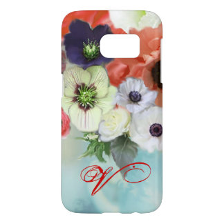 RED WHITE ROSES AND ANEMONE FLOWERS MONOGRAM