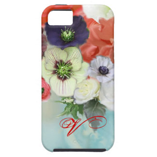 RED WHITE ROSES AND ANEMONE FLOWERS MONOGRAM CASE FOR THE iPhone 5