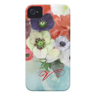 RED WHITE ROSES AND ANEMONE FLOWERS MONOGRAM Case-Mate iPhone 4 CASE