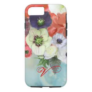 RED WHITE ROSES AND ANEMONE FLOWERS MONOGRAM iPhone 7 CASE