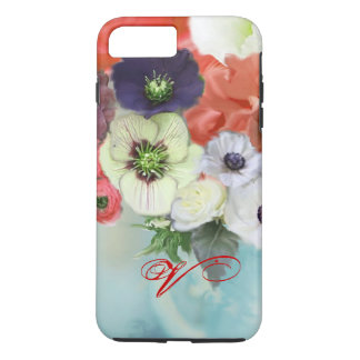 RED WHITE ROSES AND ANEMONE FLOWERS MONOGRAM iPhone 7 PLUS CASE