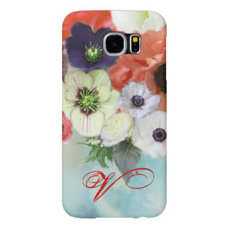 RED WHITE ROSES AND ANEMONE FLOWERS MONOGRAM SAMSUNG GALAXY S6 CASES