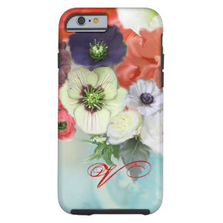 RED WHITE ROSES AND ANEMONE FLOWERS MONOGRAM TOUGH iPhone 6 CASE