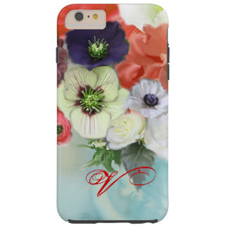 RED WHITE ROSES AND ANEMONE FLOWERS MONOGRAM TOUGH iPhone 6 PLUS CASE
