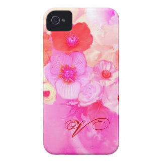 RED WHITE ROSES AND PINK ANEMONE FLOWERS MONOGRAM iPhone 4 COVERS