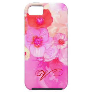 RED WHITE ROSES AND PINK ANEMONE FLOWERS MONOGRAM iPhone 5 CASE