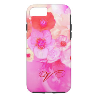 RED WHITE ROSES AND PINK ANEMONE FLOWERS MONOGRAM iPhone 7 CASE