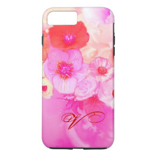 RED WHITE ROSES AND PINK ANEMONE FLOWERS MONOGRAM iPhone 7 PLUS CASE