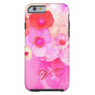 RED WHITE ROSES AND PINK ANEMONE FLOWERS MONOGRAM TOUGH iPhone 6 CASE