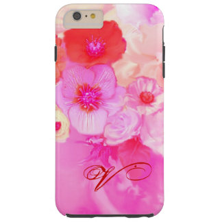 RED WHITE ROSES AND PINK ANEMONE FLOWERS MONOGRAM TOUGH iPhone 6 PLUS CASE