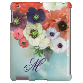 RED WHITE  ROSES, BLUE ANEMONE FLOWERS MONOGRAM iPad CASE