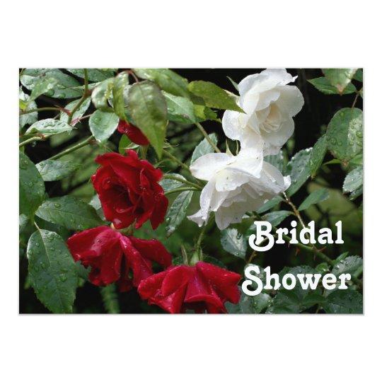 Red White Roses Bridal Wedding Shower Invitation