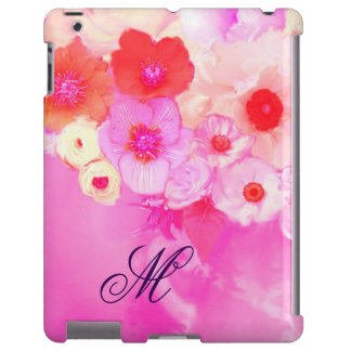 RED WHITE  ROSES, PINK ANEMONE FLOWERS MONOGRAM iPad CASE