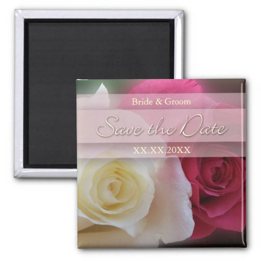 Red & White Roses Save The Date Magnet