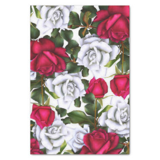 Red & White Roses Shabby Chic Rustic Modern Glam Tissue Paper