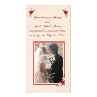 Red & White Roses Wedding Announcement Photo Card