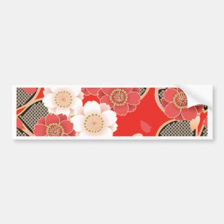 Red & White Sakura Japanese Kimono Bumper Sticker