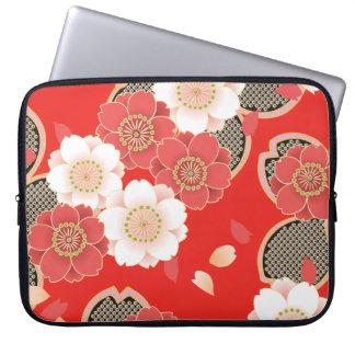 Red & White Sakura Japanese Kimono Laptop Sleeves
