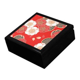Red & White Sakura Japanese Kimono Large Square Gift Box