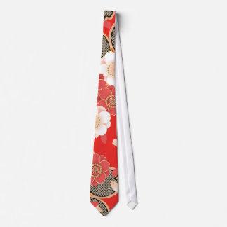 Red & White Sakura Japanese Kimono Tie