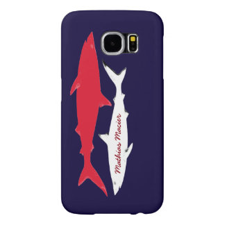 red white sharks personalized samsung galaxy s6 cases