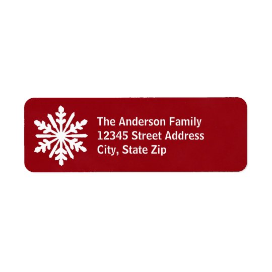 Red & White Snowflake - Address Label