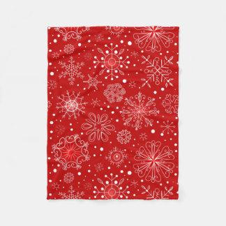 Red & White Snowflake Christmas Design Fleece Blanket