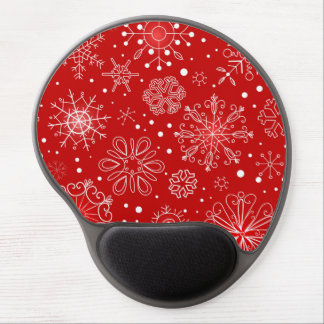Red & White Snowflake Christmas Design Gel Mouse Mats