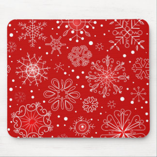 Red & White Snowflake Christmas Design Mouse Pads